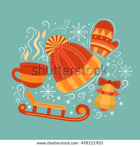 Vector concept with symbols of winter. Collection elements: winter hat, mittens, cup of hot drink, sled, bell and snowflakes. Merry Christmas design concept. Background for card, banner, flyer.