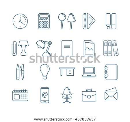 vector Conceptual icons set with stationery elements isolate on white background. Illustrations in mono line stile