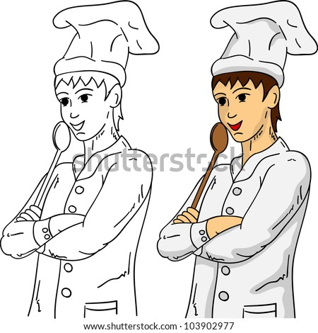 vector - cook with a wooden spoon, isolated on background