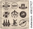 Vector craft beer badges and logos. Set of retro beer labels on vintage paper background.
