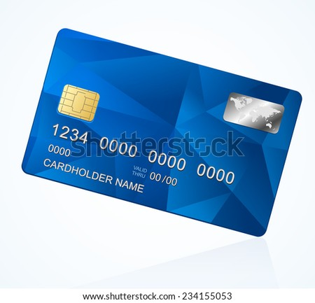Vector Credit Card blue. Triangle modern background