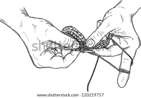 Crocheting With Hands : stock-vector-vector-crochet-hands-wuth-crochet-hook-working-isolated ...