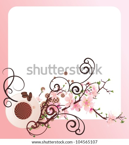 vector cup of coffee and  blossoming cherry tree brunch frame