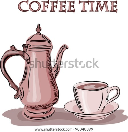 Vector cup of coffee and Kettle, background