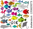 Vector Cute Cartoon Different Fishes Isolated Set - stock