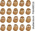 Vector cute cartoon potatoes smile with many expressions - stock vector
