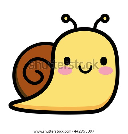 Vector Cute Cartoon Snail Isolated On White Background