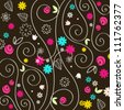 Vector cute, colorful hand drawn style autumn leaves illustration - stock photo