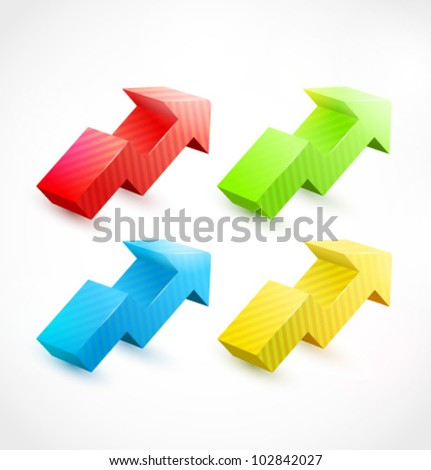 vector 3d arrow with many colors