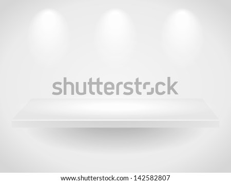 Vector 3d blank template of a shelf on light background. Image contains transparent lights and shadows. 10 EPS