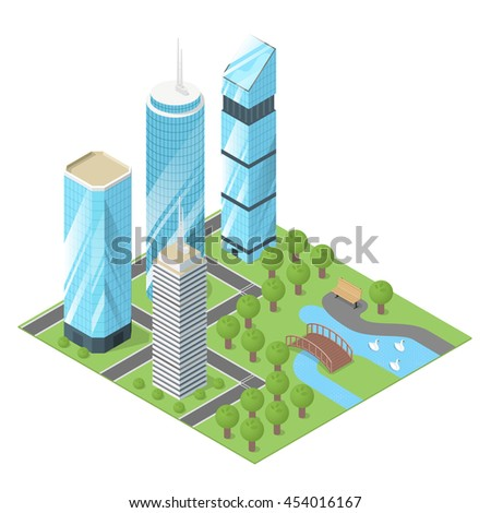 Vector 3d isometric illustration of city buildings and park.