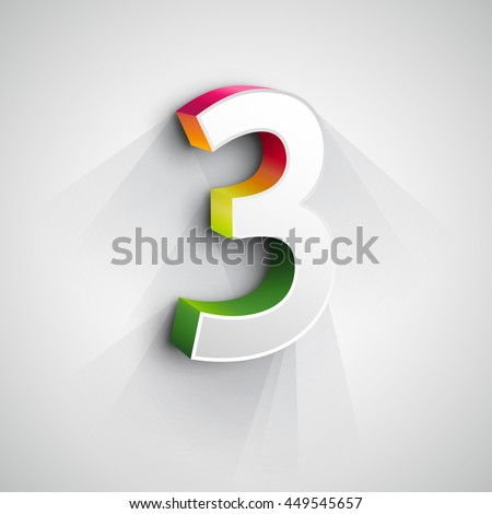 Vector 3d Number Three. White figure 3 on Gray Background