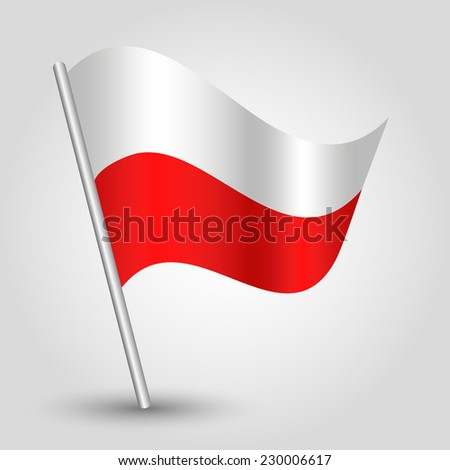 vector 3d waving polish flag on pole - national symbol of poland with inclined metal stick