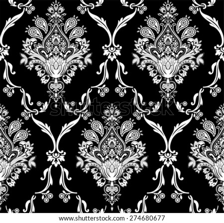 Vector damask seamless pattern. Elegant luxury texture for wallpapers.