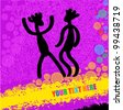 Vector dancing peoples (Tribal pink grunge art with place for text) - stock vector
