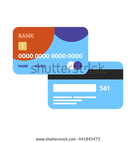 Vector debit card icon. Credit card for payments. Illustration isolated on white background