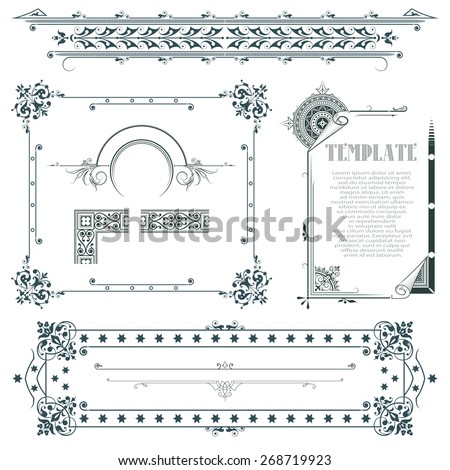 Vector decorative elements for the design of diploma, web, advertisements, envelope, wedding  and other invitations or greeting cards