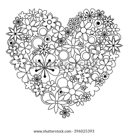 Good luck words by flowers vector stock vector 413047099 for Flowers and hearts coloring pages