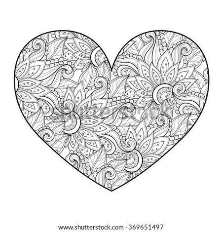 Vector Decorative Monochrome Floral Heart. Valentine's Day Greeting Card, Ornate Holiday Symbol