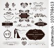Vector design elements and calligraphic page decorations for wedding - stock