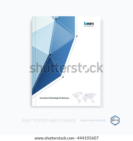 Vector design for cover annual report. Brochure or flyer template in A4 with blue triangular geometric shape in polygonal style with technology connection concept. Abstract business modern poster.