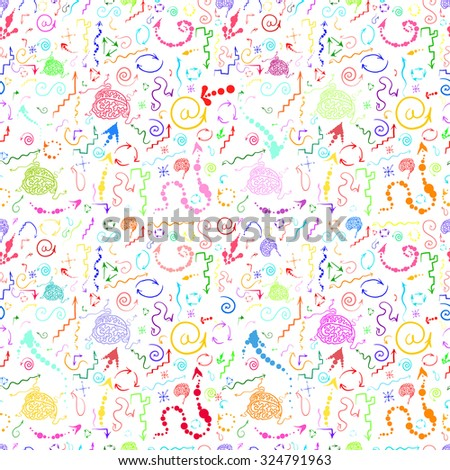 Vector design. Hand drawing.Seamless pattern.Many colored arrows.Against the white background.