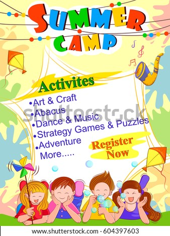 Vector design banner poster design template stock vector 604397603 vector design of banner poster design template for kids summer camp activities yadclub Choice Image
