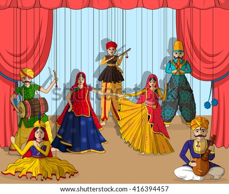 Vector Design Colorful Rajasthani Puppet Indian Stock