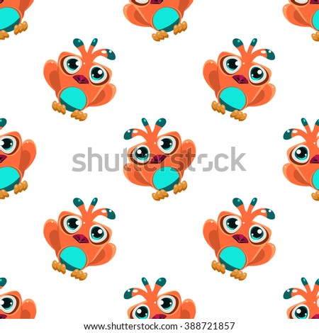 Vector design seamless pattern with cute orange macaw parrot in the air on white background