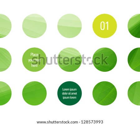 Vector design template - circles with green abstract backgrounds and space for text