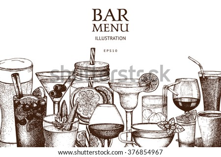 Vector design with hand drawn drinks illustration. Vintage beverages sketch background. Retro template isolated on white.