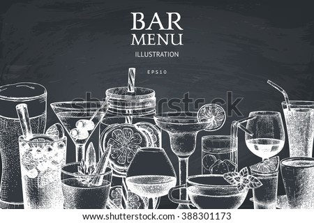 Vector design with hand drawn drinks illustration. Vintage beverages sketch background. Retro template isolated on chalkboard.