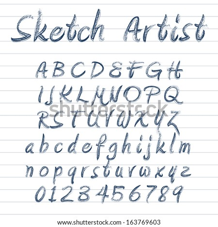 Vector designer sketched alphabet in blue ink on lined background
