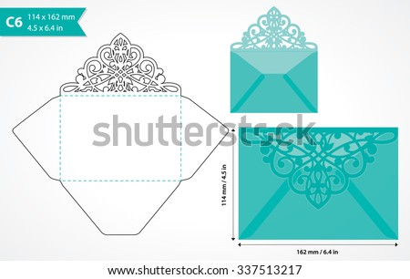 envelope template flap design easy fold stock vector 341159261, Invitation templates