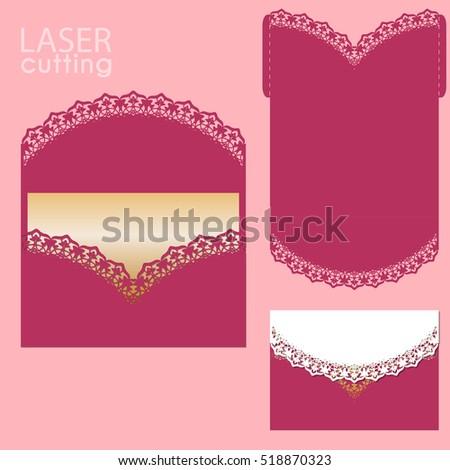 Die Laser Cut Wedding Card Vector Vector 504328624 – Wedding Card Envelope Template