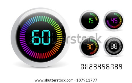 Vector Digital Countdown Timer isolated on white background