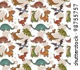 Vector dinosaur seamless pattern - stock vector