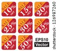 Vector : Discount Price Tag For Every Shopping Season, Sale 10 - 50 Percent Off Isolated on White Background - stock vector