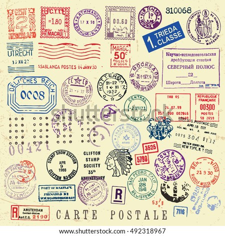 Vector Document Stamp Set. Great for vintage designs.