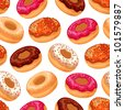Vector donuts pattern - stock vector