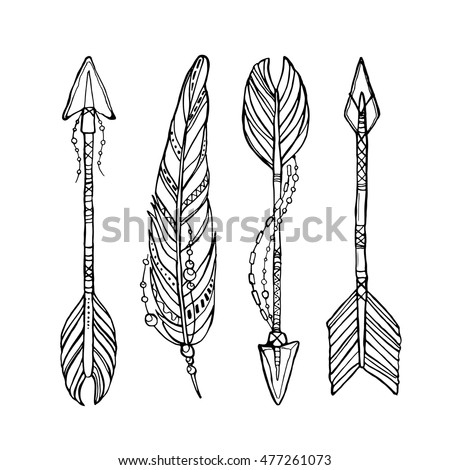 Vector doodle bow arrows set with feathers in bohemian, indian, tribal style. Ethnic native decorative arrows, hand drawn vector illustration. Tattoo style