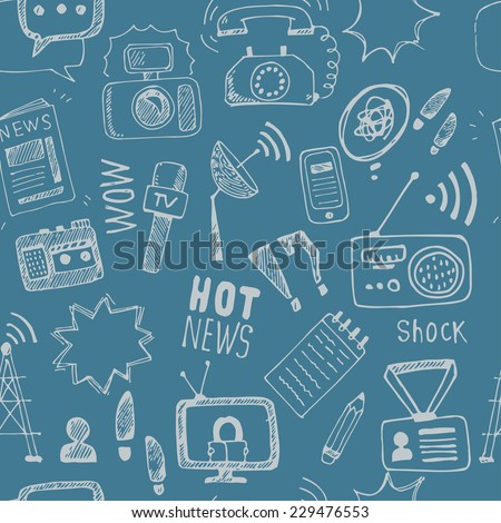 Vector doodle  journalism seamless pattern. Background of hand drawn symbols with tv,camera, speech bubble, telephone,dictaphone, radio