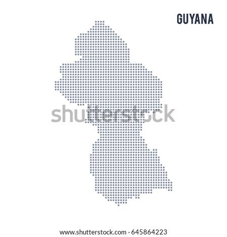 Pixel Mosaic Map Guyana On White Stock Vector 1022395927 Shutterstock