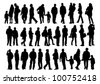 Vector drawing of a collection of silhouettes of men and women - stock vector