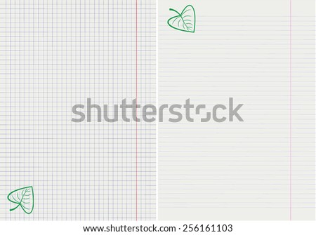 vector drawing of pages from school notebooks with a green leaf