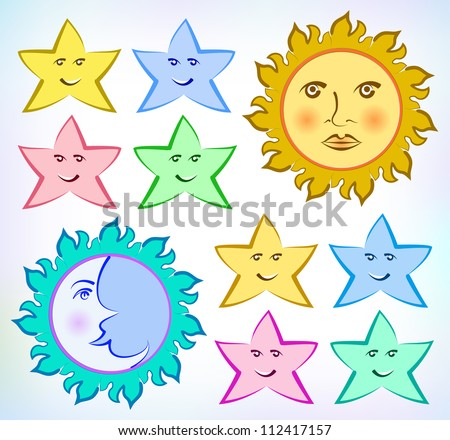 Vector drawing of the Sun, Moon and stars on the light color ...