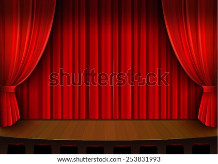 Vector Drawing Theater Stage Red Curtain Stock Vector