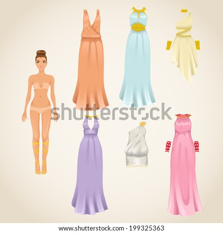 Vector dress-up paper doll model with and assortment of greek dresses