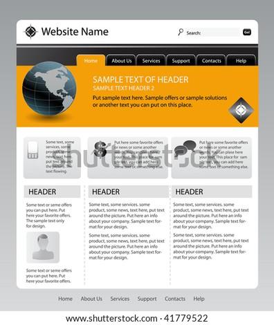 Vector Editable Website Template Blue Color Stock Vector 42684376 ...