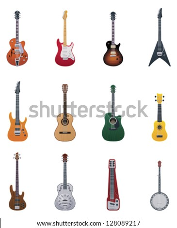 set isolated guitars stock vector 56876767 shutterstock. Black Bedroom Furniture Sets. Home Design Ideas